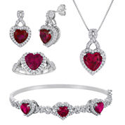 Lab-Created Ruby and Cubic Zirconia 4-pc. Boxed Jewelry Set