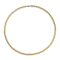 Made in Italy 18K Tri-Color Gold Bead Bracelet