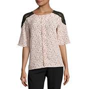 Worthington Short Sleeve Lace Shoulder Blouse-Petites