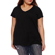 Boutique + Short Sleeve V Neck T-Shirt-Plus
