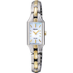 Seiko® Womens Two-Tone Mother-of-Pearl Solar Watch SUP164