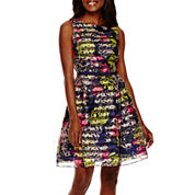 Danny & Nicole® Sleeveless Floral Shadow Stripe Fit-and-Flare Dress