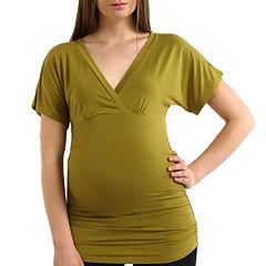 Momo Baby Short Sleeve V Neck Blouse-Maternity