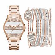 Womens Rose-Tone Watch Box Gift Set