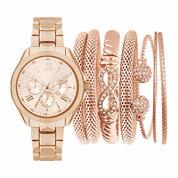 Rose-Tone Womens Watch Box Gift Set