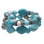 Mixit Womens  Turquoise Triple Row Beaded Bracelet