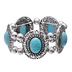 Mixit Womens  Turquoise Round Cabochon Stretch Bracelet