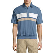 Palmland Short Sleeve Stripe Knit Polo Shirt
