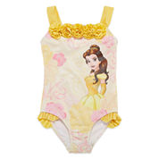 Disney Girls Beauty and the Beast Solid One Piece Swimsuit-Big Kid