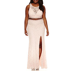 City Triangle Sleeveless Beaded Fitted Gown-Juniors Plus