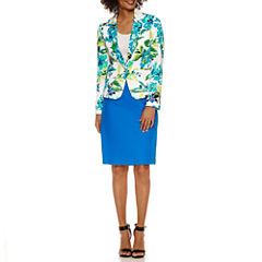 Chelsea Rose Long Sleeve Floral Jacket with Solid Pencil Skirt