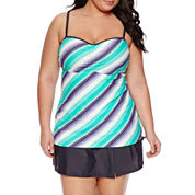 Free Country® Stripe Bandeau Swimsuit Top or Swim Skirt-Plus