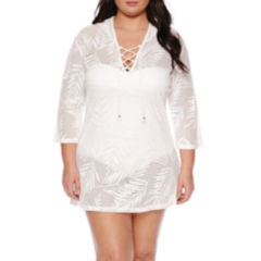 Porto Cruz Solid Crochet Swimsuit Cover-Up Dress-Plus