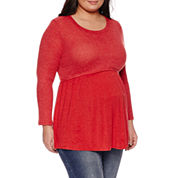 Long Sleeve Scoop Neck Pullover Sweater-Plus Maternity