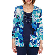 Alfred Dunner Scenic Route 3/4 Sleeve Layered Top Petites