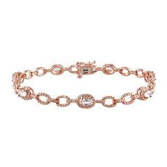 Genuine Morganite 14K Rose Gold Over Sterling Silver Link Bracelet