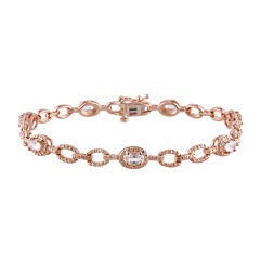 Genuine Morganite 14K Rose Gold Over Sterling Silver Link Bracelet