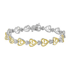 ForeverMine® 1/10 CTTW Diamond 14K Yellow Gold/Sterling Silver Heart Bracelet