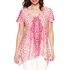 Gloria Vanderbilt Short Sleeve Woven Blouse