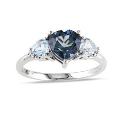 Heart-Shaped Genuine London and Sky Blue Topaz 3-Stone Ring