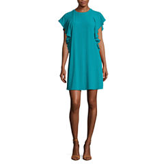 Worthington Short Flutter Sleeve Shift Dress