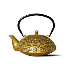 Old Dutch 37 Oz Gold and Black Cast Iron Ritchi Teapot