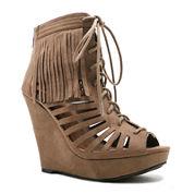 Qupid Glory Fringe Lace-Up Wedge Sandals