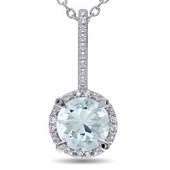 Round Genuine Aquamarine and Diamond-Accent Pendant Necklace