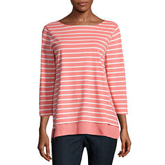 St. John's Bay 3/4 Sleeve Boat Neck T-Shirt-Womens