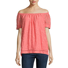 St. John's Bay Short Sleeve Jacquard Blouse