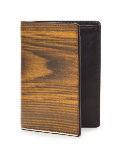 Woodgrain Leather Vertical Flap Wallet