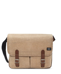 Stone Burlap Large Saddle Messenger