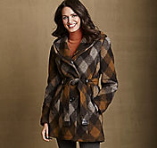 HOODED PLAID WOOL COAT