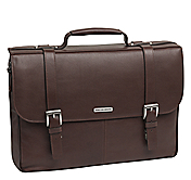DOUBLE BUCKLE FLAPOVER BRIEFCASE