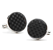 BLACK CARBON FIBER HOLOGRAM CUFFLINKS