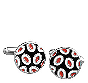RED-BLACK DOTTED CIRCLE CUFFLINKS