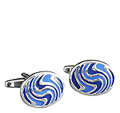 BLUE TEXTURED WAVE OVAL CUFFLINKS