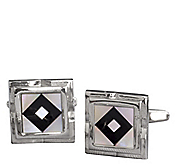 MOTHER-OF-PEARL BLACK DIAMOND SQUARE CUFFLINKS