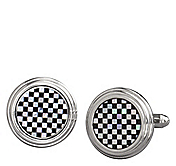 ONYX  MOTHER-OF-PEARL CHECKERSTEP CUFFLINKS