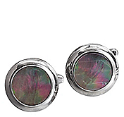 ROUND WITH GRAY STONE CUFFLINKS