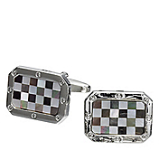 MOTHER-OF-PEARL CHECK CUFFLINKS