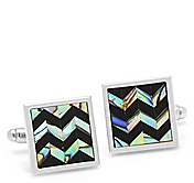 TWO-TONE CHEVRON SQUARE CUFFLINKS