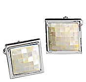 MOTHER-OF-PEARL CHECKERED SQUARE CUFFLINKS