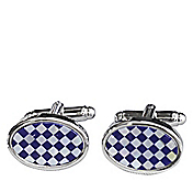CHECKER STEP OVAL CUFFLINKS