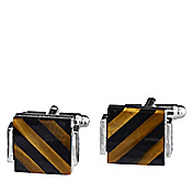 BLACK & TIGER'S EYE DIAGONAL STRIPE CUFFLINKS