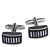ONYX & MOTHER-OF-PEARL MINI STRIPE CUFFLINKS