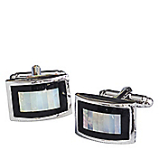 MOTHER-OF-PEARL & ONYX BORDER CUFFLINKS