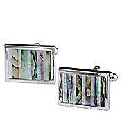 MOTHER-OF-PEARL & SHELL STRIPE CUFFLINKS