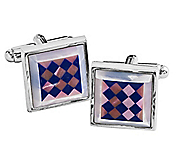 PINK & MOTHER-OF-PEARL LAPIS DIAMOND CUFFLINKS