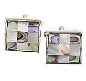 MOTHER-OF-PEARL & ABALONE CHECKERBOARD CUFFLINKS